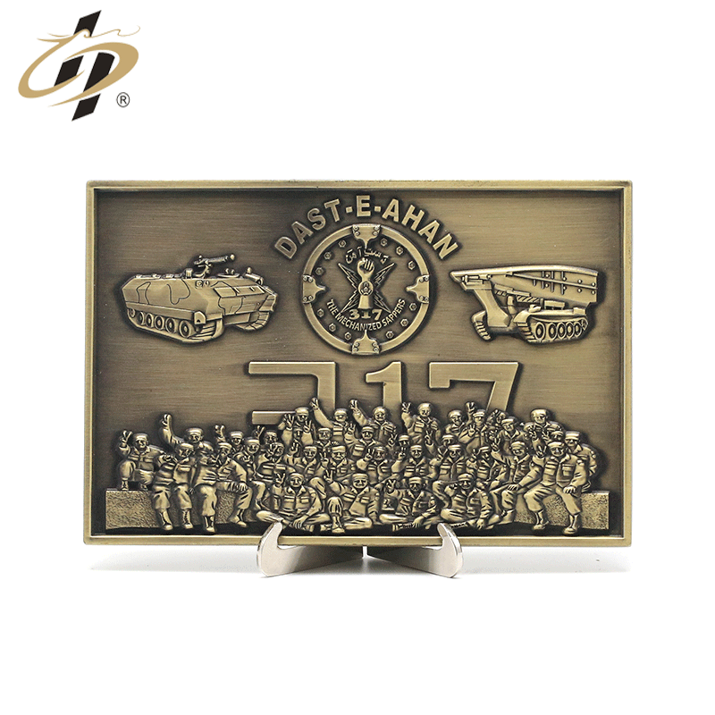 Die casting antique bronze 3D custom Pakistan metal military plates