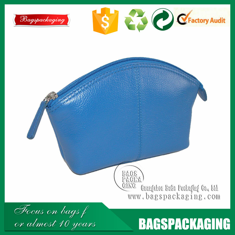 hard leather aqua blue cosmetic zipper leather pouch bag women