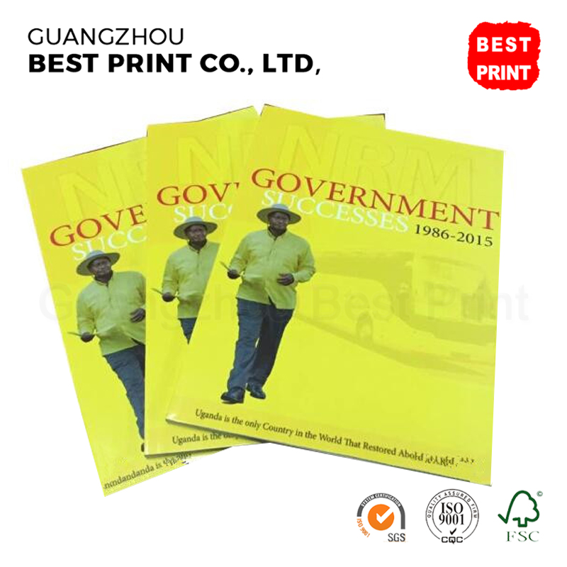 Supply gold stamping government magazine service A4 recycled cheap book printing