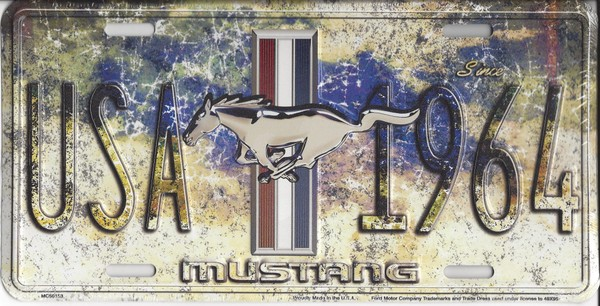 Ford Mustang Year One Metal License Plate
