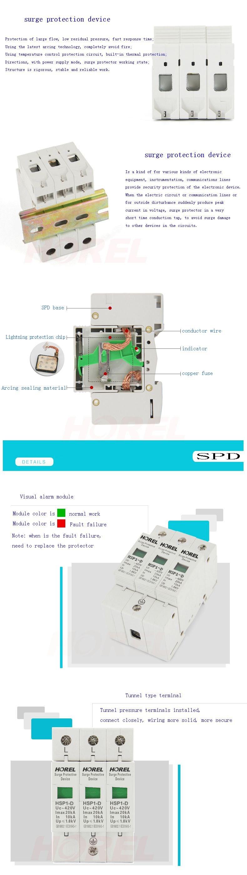 Ac Power Supply Surge Arrester Spd D 3 Pole 10ka 20ka 220v Protection Device Wiring Diagram Hsp1 Protector