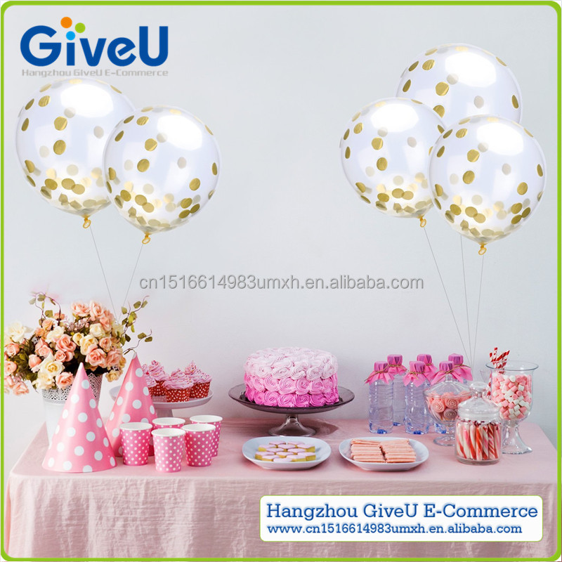GiveU Creative Gold Confetti Party Ballons Transparent Latex Balloon for Babyshower Kids Party Wedding Decor