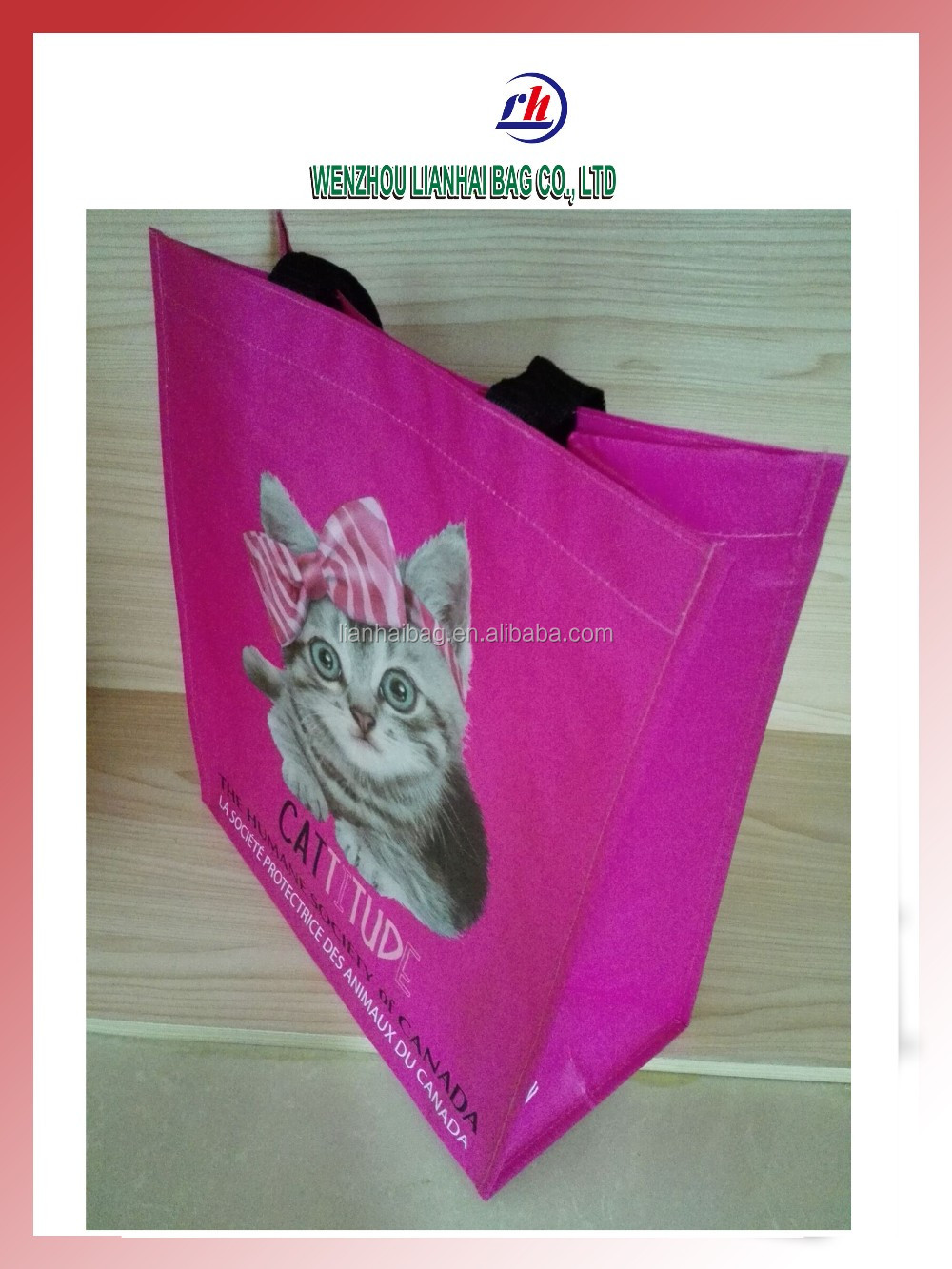 Laminated on PP Woven Shopping Bag gym sack