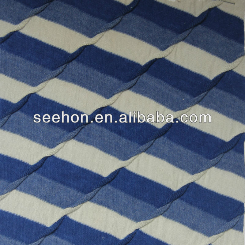 buckling blue white stripe fabric for T-shirt
