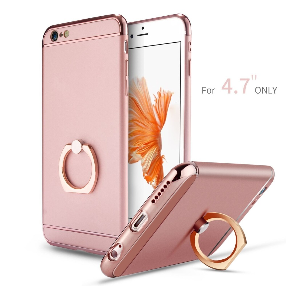 New Hot Product 3 in 1 With Ring Kickstand Chromed Gold Plated mobile Phone Case For iPhone 6 6S Cover