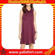 Wholesale high quality comfort cotton/polyester jersey cowl neck sleeveless new model frocks dresses