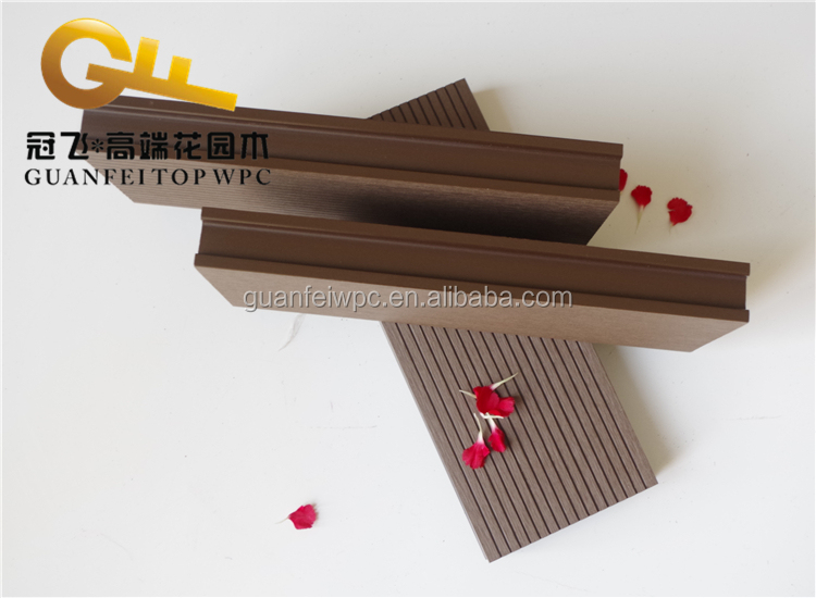 Outdoor wood grain surface black composite decking cheap price wpc flooring