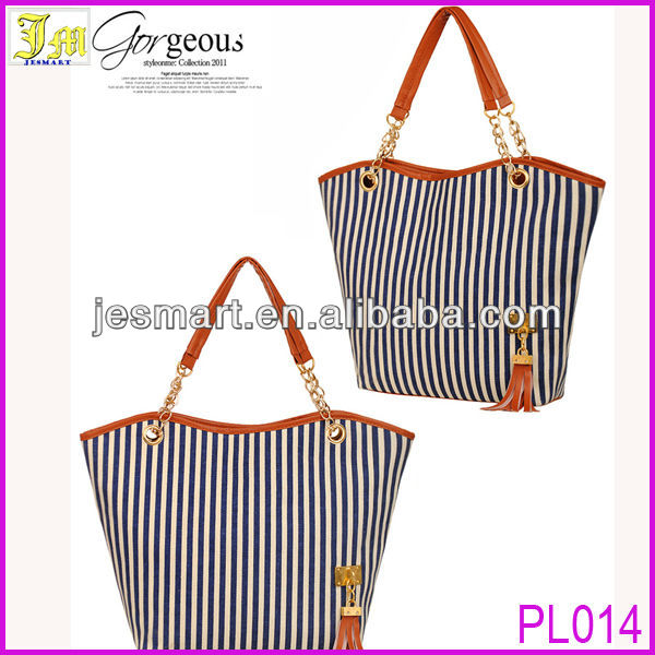 2013 Latest Design Women's Handbag Stripe Canvas Bag Chain Tassel Hangings Handbag Fashion Bag