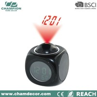 China cube laser projector clock with projection on the ceiling , desk talk snooze clock projector