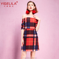 Yigelila 61264 latest fashion check design sexy girls off shoulder without mini casual dress