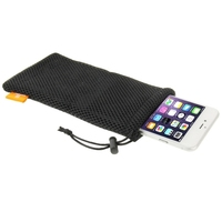 Nylon Mesh Pouch Bag with Stay Cord for 5.5 inch Mobile Phone, Size: 18.5cm x 9cm