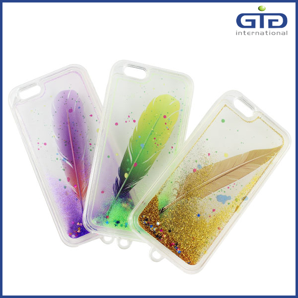 Customized Feather TPU Liquid Glitter Star Case For Apple For iPhone 6