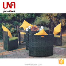 Una jepara indonesia rattan furniture storage coffee table and chair space saving furniture round shaped glass top furniture