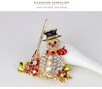 Christmas Jewelry Gift Rhinestone Snowman Brooch Pin Colorful Crystal Alloy Snowman Brooch