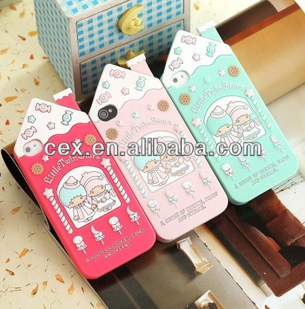 Candy House Little Twin Stars Design Soft Silicone Case Cover for iphone 4 4G