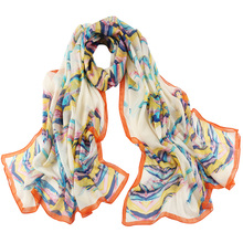 Top quality custom digital print korean shawl fashionable lady 100% silk head scarf