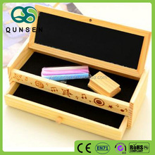 custom wooden 2 layers multi function pencil box