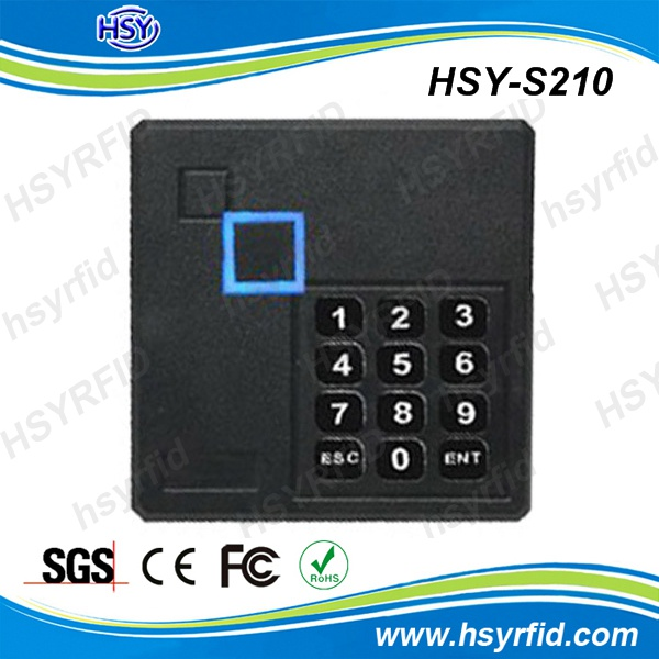 HSY-S210 13.56 MHz or 125 kHz wiegand 26 rfid access control reader stand alone