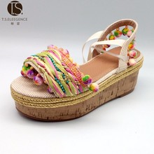 Custom high quality gold ESPADRILLES PLATFORM SANDALS lace up sequin jutti flat espadrilles women sandals