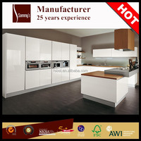 China manufacturer wholesale high gloss vinyl wrap doors prefabricated kitchens cabinets