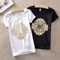 Top fashion gir bling t shirts wholesale 100% cotton soft and thin t shirts