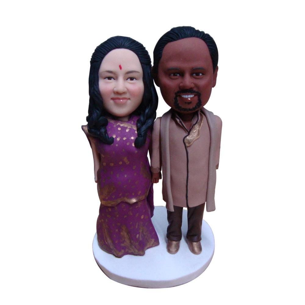 Get Quotations · Handmade Indian Wedding Cake Topper Custom Made Personized  Clay Bride U0026 Groom Cake Toppers Wedding Favors