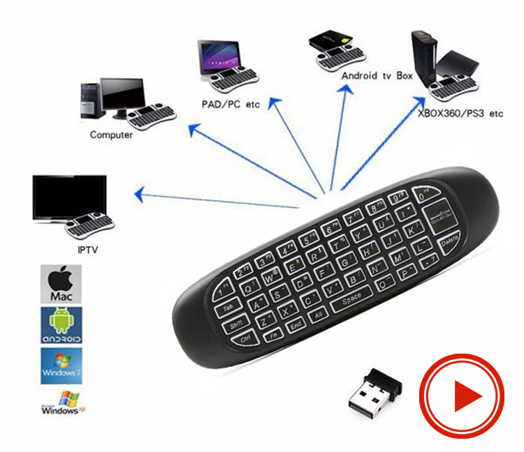 C120 Air Mouse T10 Rechargeable Wireless GYRO Air Fly Mouse and Keyboard Combo for Android Media Player