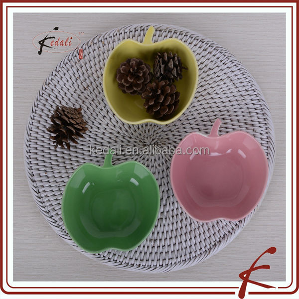apple and pear shapes ceramic color glazing snack bowl sets