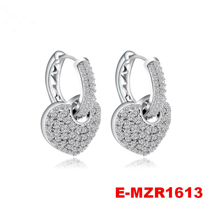 New wholesale fashion hot sale zircon heart hoop earrings
