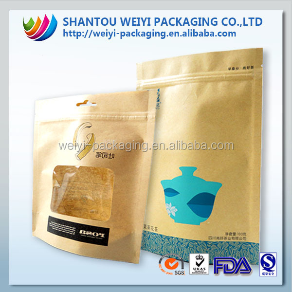 High quality moisture-proof paper coconut chips snack bag with ziplock
