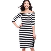 JS 20 Hot sell occident style words collar strapless sexy tattoo pack hip dress stripe fabric dress 731