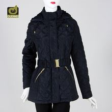 Top selling factory price snug breathable beam waist hooded unique women coats