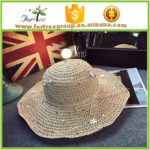 ladies crocheted straw sun hats beach floppy straw hats