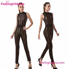 See Through Black Long Jumpsuit Girls Sexy Night Club Wear