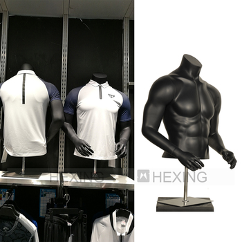 Black Muscular Cheap Male Upper Body Mannequin Stand