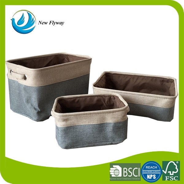 Houseware decorative collapsible canvas bathroom storage basket with handles