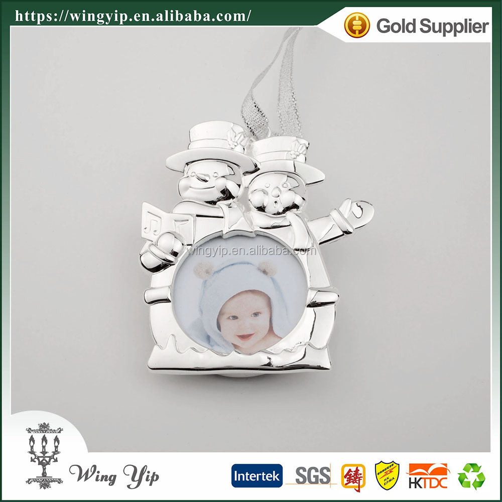 Wholesales Manufacturer Snowman Photo Frame Zinc alloy metal Christmas Gift for decoration