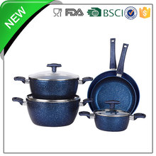 tempered glass lid forged blue marble cookware set for induction cooker