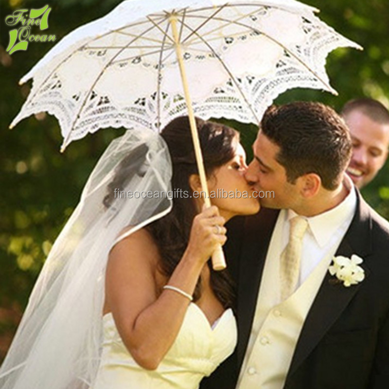 Summer fancy cheap white fabric sun parasol lady lace umbrella for wedding