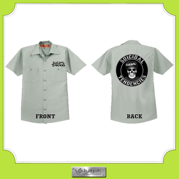 Custom white cotton embroidered mens work shirt for White cotton work shirts