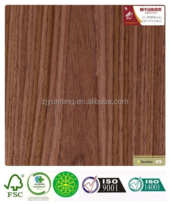 HPL engineered laminated compressed wood veneer walnut-518c paint free door plate