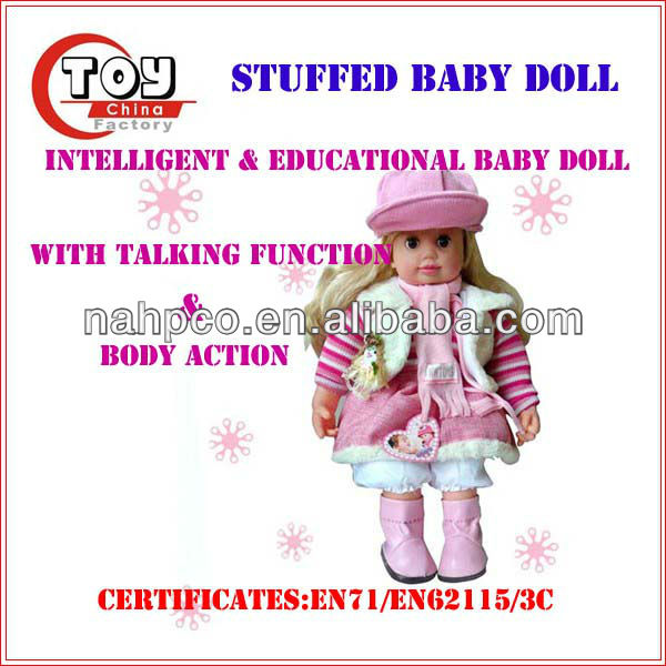 Intelligent Stuffed Baby Doll Featured With Talking Function
