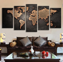 5 panels canvas wall art cheap China prints world map group pictures for decoration