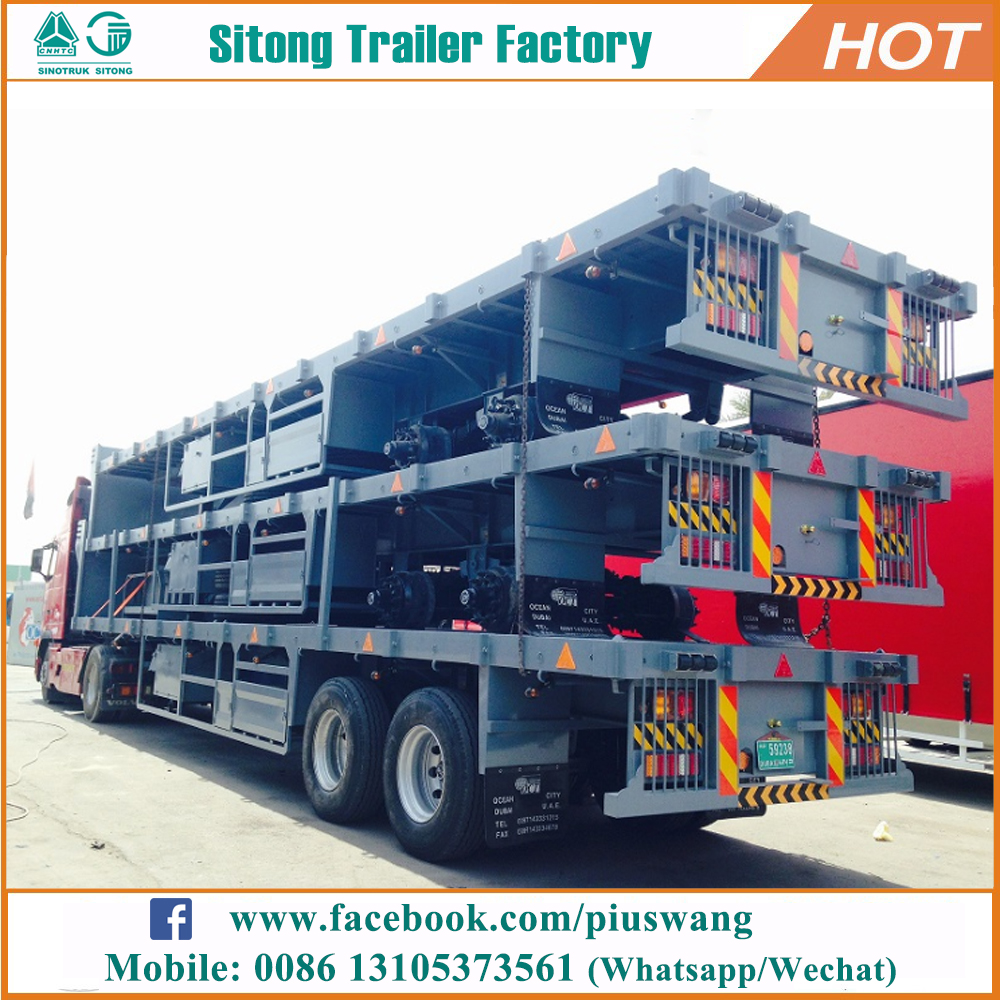 2-3 Axles Platform 20ft 40ft Container Transport Flat Trailer For Sale