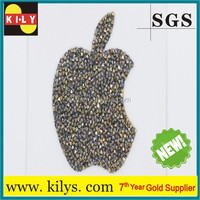 2015best seller Bitten apple design rhinestone,crystal sticker on iphone