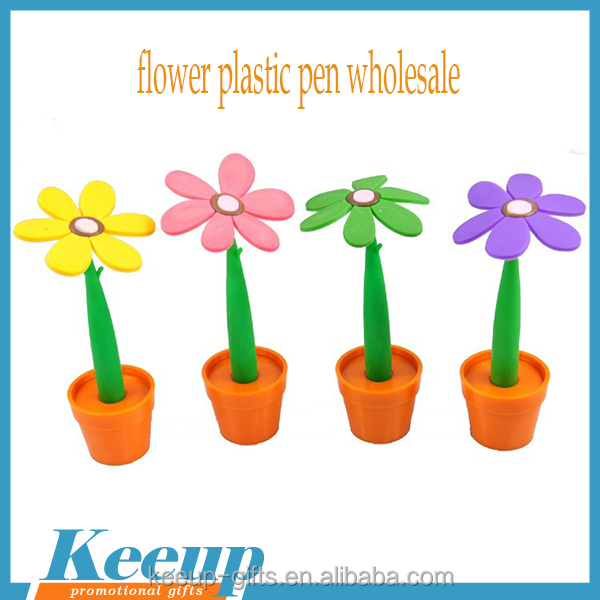 Branded Logo Souvenir Sun Flowers Plastic Desk Stand Pen with Flowerpot Wholesale