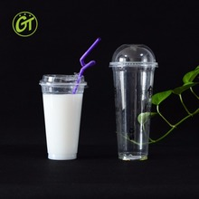 Hot Sale Hot Cold drinking Plastic cup pp 700ml milk tea cup with lid straws