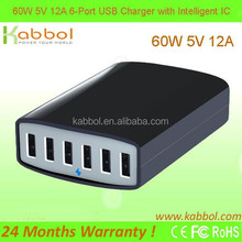 6ports USB Travel Charger, Kabbol 60W 6-Port USB Charging Station, 5V 12A USB HUB for iPod Touch, Nano;