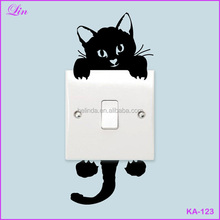 Free Shipping by DHL/FEDEX/SF Home Funny Cute Kitty Plane Cartoon Switch Children Black Cat Wall Stickers