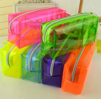 6 jelly candy colors big zipper style keep cosmetic clear transparent clear pvc cosmetic bag
